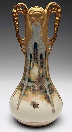 Crysanthenum flower Amphora vase designed by Paul Dachsel