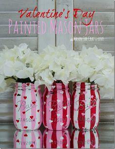 Valentine Heart Jars: Painted & Distressed   Mason Jar Crafts Love