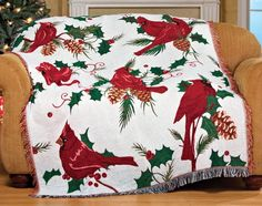 Christmas Cardinal Tapestry Throw Blankets | Christmas Wikii