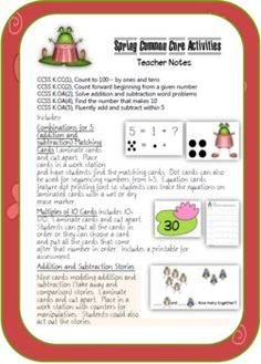 Six workstation activities and 10 printables align to 5 Kindergarten common core standards. $3.50