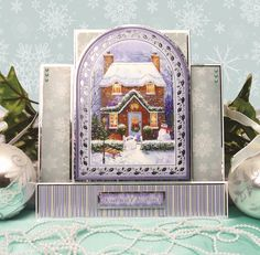 White Christmas by Hunkydory Crafts. Card made using 'Home for Christmas' topper set. Part of the 2014 Christmas Craftinator Collection