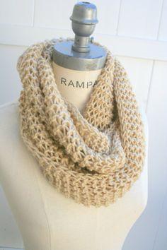 Beige Knit Scarf Hand knit Neckwarmer  Infinity Scarf Chain Scarfs Unisex Winter Fashion Neckwarmer Scarves - By PiYOYO on Etsy, $24.50