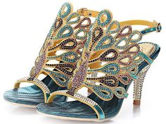 bangfox Fabulous Peacock Pattern Crystal Stud Sandal Luxurious Ankle Strap Wedding Heels find ** Remarkable product available now. : Hiking sandals