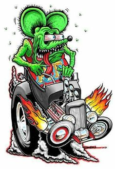 Shop the latest collection of American Collectibles Rat Fink Riding Hot Rod, Retro Greaser Hot Rodder Plasma Metal Sign from the most popular stores - all in one place. Rat Fink, Ed Roth Art, Hot Rod Tattoo, Cartoon Rat, Cartoon Images, Fu Dog, T Bucket, Desenho Tattoo, Garage Art