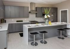 Small kitchen ideas with grey cabinets grey kitchen ideas of the picture gallery modern gray cabinets . small kitchen ideas with grey Modern Grey Kitchen, Grey Kitchen Walls, Grey Kitchen Designs, Gray And White Kitchen, Kitchen Room Design, Grey Kitchen Cabinets, Grey Kitchens, Kitchen Cabinet Design, Modern Kitchen Design