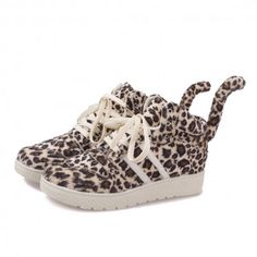 Cute Fuzzy Leopard with Tail Platform Sneakers - HalloMall
