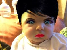 Here he is again, but with hair and makeup: | Mom Edits Baby's Photos With Makeup App And The Results Are Terrifying