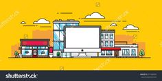 The Computer On Background Of The City In A Flat Style Стоковая векторная иллюстрация 371468305 : Shutterstock