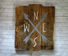 Compass Rustic Wood Sign Outdoor Pool Decor by RusticLuvDecor