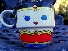 Wonder Woman Hand Painted Stackable Mug by TheCornerGeekery