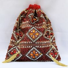 Red Stone Work Potli (Click To Buy | Only Rs 350)