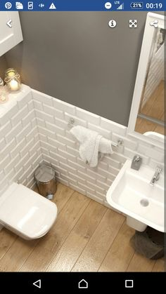 interior design ideas home Small Downstairs Toilet, Small Toilet Room, Guest Toilet, Downstairs Bathroom, Wood Bathroom, Bathroom Layout, White Bathroom, Bathroom Interior, Overhead Shower Head