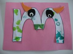 Monster Craft For Kids - each have the letter of their name, foam sticker peices for the decorating.