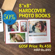 """Some memories belong in a book, lucky for you, during the Great Online Shopping Festival #GOSF you can share yours for half the price in our 8""""x8"""" Printed Hardcover Photo Books for only Rs. 450. Use code GOSFPHCB and start capturing your story now"""