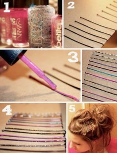 Paint bobby pins with nail polish and glitter!!!! Let completely dry before wearing.