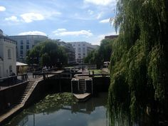 View from the bridge on to Camden Lock
