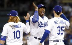 The Los Angeles Dodgers won against the Chicago Cubs in baseball's National League Championship Series in Los Angeles, Saturday, Oct. Dodgers Win, Justin Turner, Yasiel Puig, Cody Bellinger, After Game, Dodger Blue, Cubs Fan, National League, Game 1