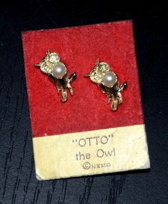 vintage Antique gold Otto the owl scatter pin pearl set #Nemo