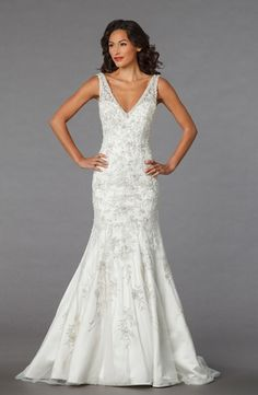 V-Neck Mermaid Wedding Dress  with Dropped Waist in Beaded Embroidery. Bridal Gown Style Number:32838229
