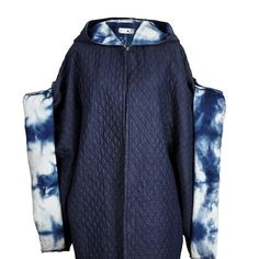 quilted denim cloak with raw silk hand dyed lining