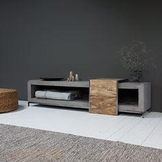 BoxWorx Furniture, end tables, and stools - Overzettafel/butler series is STILLBoxWorxboxworx Concrete Furniture, Classic Furniture, Living Furniture, Furniture Styles, Home Decor Furniture, Concrete Wood, Tv Unit Decor, Home Decor Wall Art, Tv Wall Design