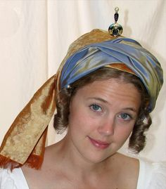 Regency ladies wrapped turban. With instructions.
