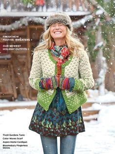 Ensemble vestimentaire coloré bonnet de laine, gant tricoté, #jacquard noël