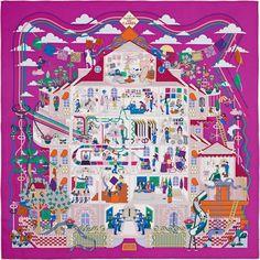 2015 S/S | La Maison des Carrés | Carré en twill de soie, roulotté à la main (90 x 90 cm) | Le plus court chemin vers le style | De Pierre - Marie Réf. : H002941S 16 Fuchsia/Blanc/Multicolore | €330