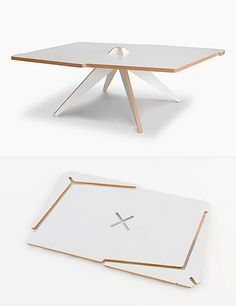 Vic is a flat-pack coffee table made from a single plywood s.- Vic is a flat-pack coffee table made from a single plywood sheet. Its two legs s… Vic is a flat-pack coffee table made from a single plywood sheet. Folding Furniture, Cardboard Furniture, Modular Furniture, Furniture Plans, Diy Furniture, Furniture Design, Furniture Market, Furniture Stores, Plywood Design