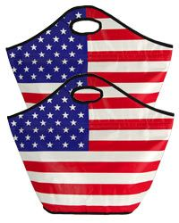 American Flag Insulated Shopping Totes - Set of 2 at The Veterans Site