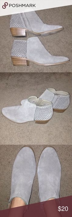 Steve Madden studded ankle booties Steve Madden light gray studded ankle boots. Worn one time. Size 8.5 make an offer! Steve Madden Shoes Ankle Boots & Booties