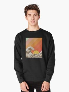 Great Ocean Wave Retro Vintage Aesthetic • Millions of unique designs by independent artists. Find your thing. Crew Neck Sweatshirt, Graphic Sweatshirt, Pullover, Sweatshirt Outfit, Mens Sweatshirts, Hoodies, Graffiti Styles, Yellow Pattern, Vintage Colors