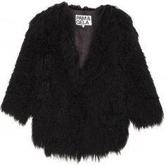 Pam & Gela Cropped Mongolian Fur Jacket as seen on Kourtney Kardashian