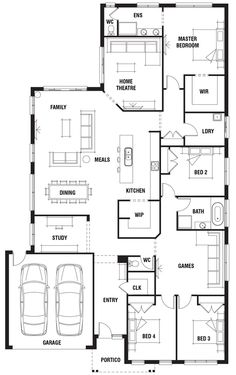 House Design: Durham - Porter Davis Homes House Layout Plans, Family House Plans, Dream House Plans, House Layouts, House Floor Plans, House Plans Australia, Porter Davis, 4 Bedroom House Plans, Home Design Floor Plans