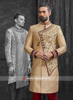 indo western sherwani for mens india Groom Outfit, Groom Dress, Men Dress, Sherwani Groom, Wedding Sherwani, Indian Men Fashion, Mens Fashion, Mens Ethnic Wear, Kurta Patterns