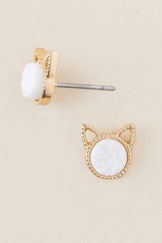 Cat Ear Druzy Stud Earring