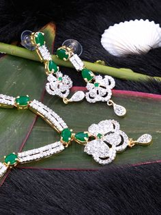 Designer Necklace Set with Green Emerald Stones