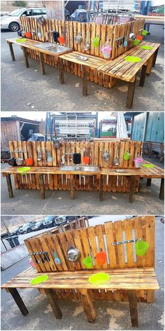 Kids love to play with the things that are specially created for them, there are many parents who invests time in creating special things for their kids at home… Pallet Kids, Wooden Pallet Projects, Wood Pallet Furniture, Pallet Crafts, Diy Projects, Outdoor Projects, Outside Playhouse, Pallet Playhouse, Build A Playhouse