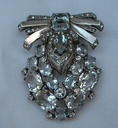 1940s large Eisenberg Sterling silver brooch fur clip