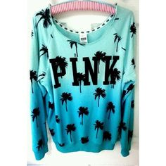 Victoria's Secret PINK Sweatshirt Palm Tree Tropical Aqua Blue Ombre Shoulder M in Clothing, Shoes & Accessories Pink Love, Vs Pink, Pink Outfits, Cute Outfits, Casual Outfits, Victoria Secret Outfits, Victoria Secrets, Leila, Pink Nation