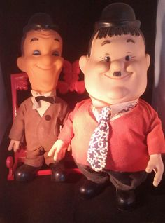 Laurel and Hardy Plastic Figurine Dolls by Larry Harmon Pictures 1973