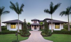 This stunning contemporary luxury home in Naples, Florida was designed by Harwick Homes. The focal point of the house is the elegantly designed swimming pool in the backyard which extends to the side of the house. Unique House Plans, Dream House Plans, Custom Home Builders, Custom Homes, House Seasons, Huge Houses, Dream Houses, Design Your Own Home, Mediterranean House Plans