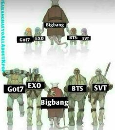 It kind of annoys me how true this is, however master shifu is still the 'master' so everyone should also know these BIGBANG are the 'KINGS OF KPOP' ‼️ Memes Fr, Funny Kpop Memes, Exo Memes, K Pop, Bts Cry, Bts And Exo, Bts Chibi, Foto Bts, Kpop Groups