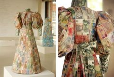 These dresses made of paper maps and money are Susan Stockwell's sculptural study on colonialism and the British empire. Empty life-sized female dress composed of ordinance survey maps glued together
