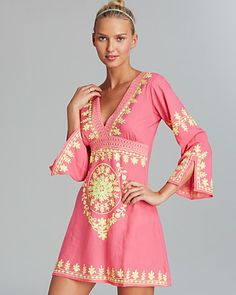 Debbie Katz Soraya Embroidered Cotton Tunic Swim Cover Up | Bloomingdale's