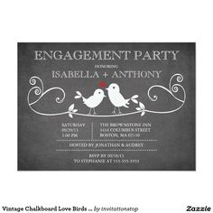 Vintage Chalkboard Love Birds ENGAGEMENT Party