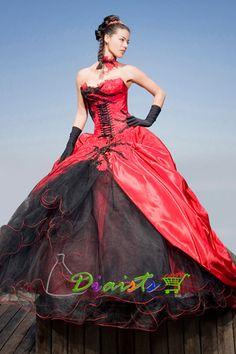 eBay | Neuf rouge noir taffetas robe de mariée mariage 0231 sur mesure taille 32 - 54