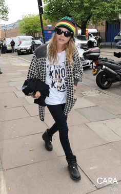Cara Delevingne wearing Lamis Khamis If You Don't Know T-Shirt and Timberland Waterproof Waterville Boots.