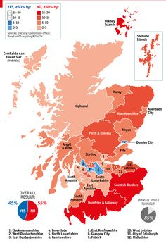 """Map of the """"No"""" vote for Scottish independence"""