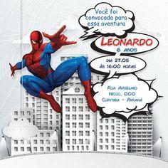Convite Digital    **** **** ****  Convite digital (uso mídias sociais, email, e pode ser impresso em casa ou gráfica tamanho máximo 30x30cm).    Personalização    Os convites são personalizados com as informações de seu evento  1- Nome do aniversariante:  2- Idade do aniversariante:  3- Data do ... Spiderman Theme, Ideas Para Fiestas, Smurfs, Disney Characters, Party, Boys, Spider Man Party, Free Printable Invitations, Digital Invitations